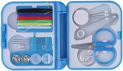 HONGIGI Hilo de Coser Completo con Estilo Aguja Tijera Dedal Mini Estuche de Almacenamiento de plástico Kit de Costura Herramienta para Uso en Viajes domésticos (Color: Azul): Amazon.es: Hogar