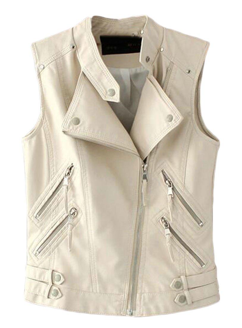 KLJR Women Faux PU Sleeveless Leather Biker Zip up Moto Bomber Jacket