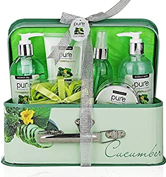 Essence of Luxury Spa Gift Basket Bath Set PURE Spa Basket Natural Skin Care Gift Set Makes Best Valentines Day Gift for Women Holiday Gift Baskets Cucumber