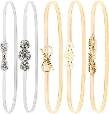 Tagaremuser 5 Pieces Women Skinny Elastic Waist Belt Stretch Metal Leaf and Roses Floral Belts Interlocking Clasp Dress Belts Gold Silver