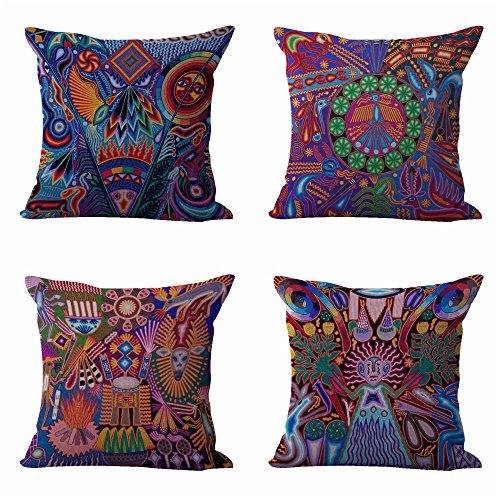 - set of 4 cushion covers Mexican folk art print living room throw pillows