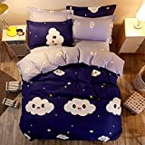 ManFan 4pcs in 1 Twin Aloe Cotton Bedding Set Solid Color AB Bed Protector Home Quilt Cover Blanket School Dorm Cartoon Print - Mink cloud