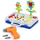 Howade Electric Drill Play Set ,Creative Puzzle Assembly DIY STEM Educational Toys Building Blocks 237 Pieces for Kids