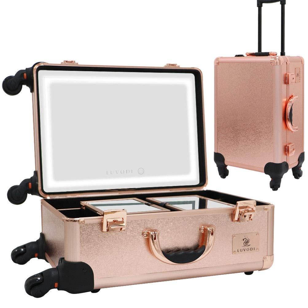 LUVODI Mallette de Maquillage Professionnel en Aluminium Beauty Case Trolley avec Miroir LED et 4 roulettes Vanity Maquillage avec Serrure pour Voyage Bijoux Coiffure - Rose