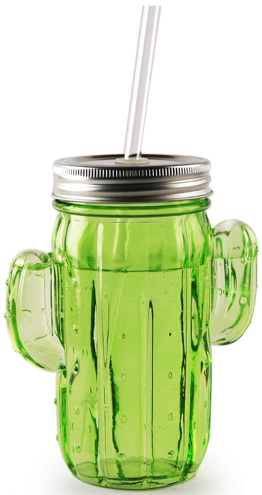 Circleware Green Glass Cactus Mason Sipper with Metal Lid and Straw, Set of 4, 15.5 Oz by Circleware (Image #1)