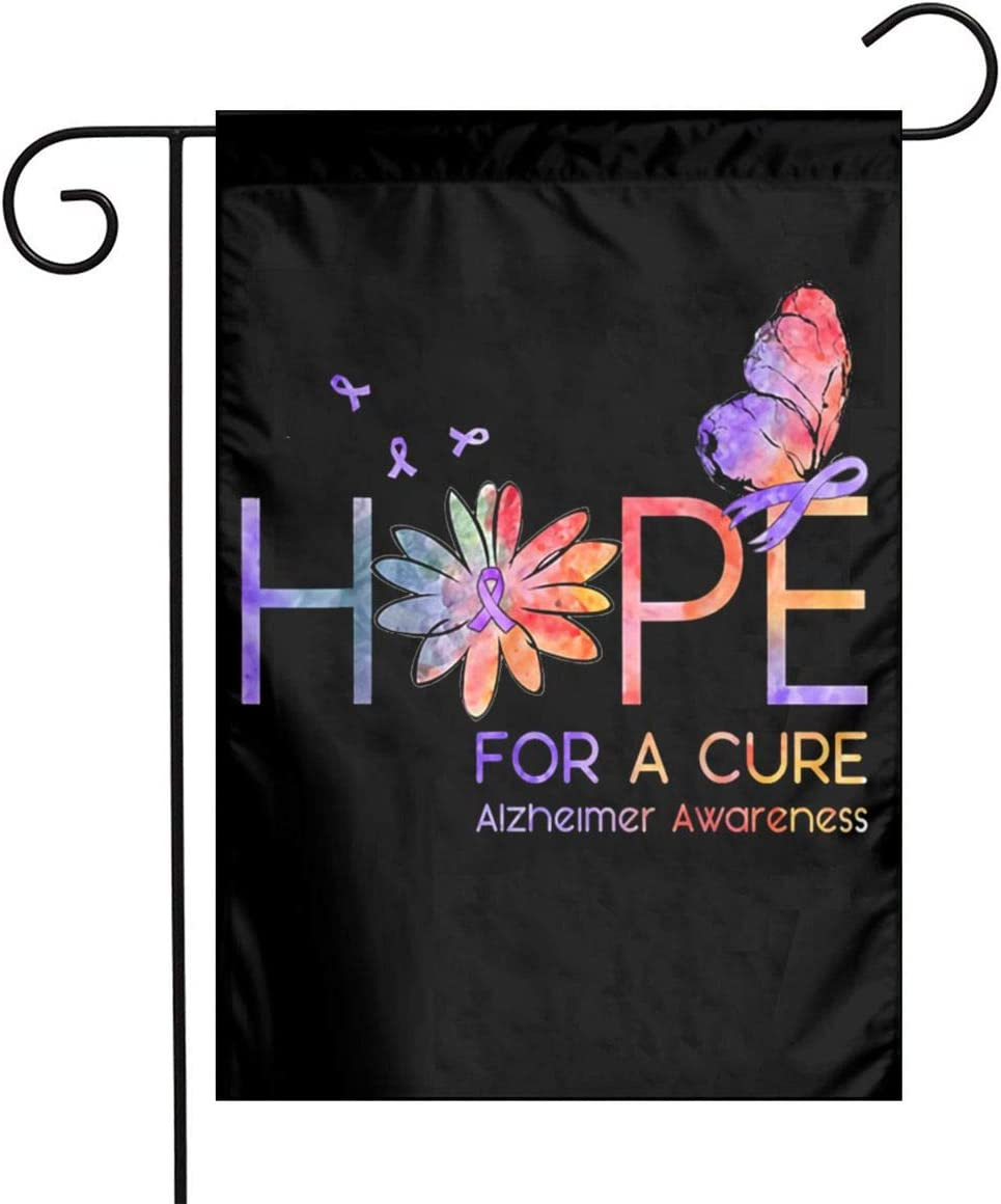 DoubleHappy Hope for A Cure Alzheimer Awareness Garden Flags Outdoor Decorative Flag Banners 12 X 18 Inches
