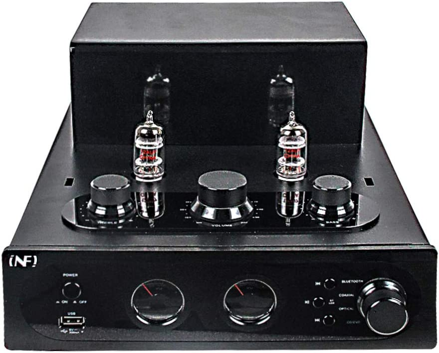 INFI Audio Hybrid Class AB Tube Amplifier, 12AX7 Power Amp with Bluetooth, Home Audio HiFi Stereo Integrated Amp, AUX, Bluetooth, USB, Optical, Coaxial