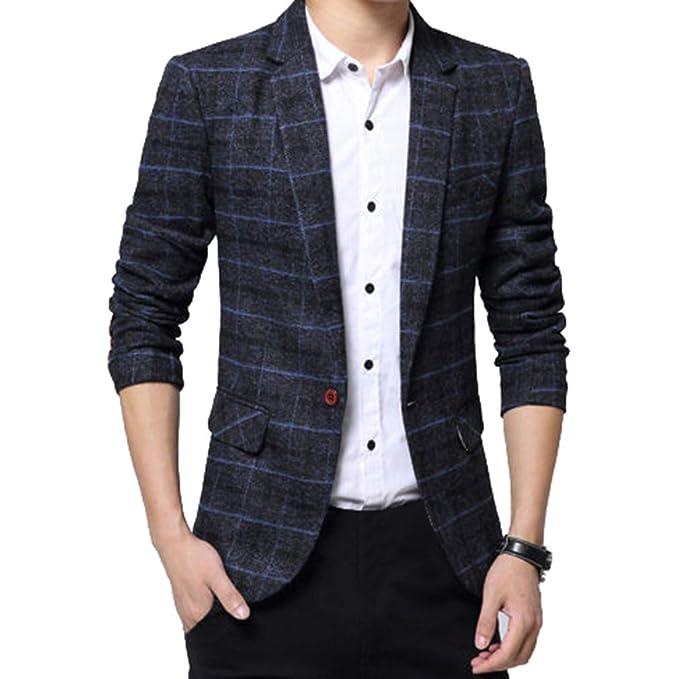 detailed look 02b66 ace86 Mxssi Uomo Casuale Un Pulsante Cappotto Slim Fit Giacca Blazers A Quadri  Outwear Maniche Lunghe Giacca da Uomo Casual Elegante Vestito di Affari ...