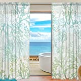 U LIFE Ocean Sea Aquatic Plants Patchwork Rod Pocket Sheer Voile Window Curtain Curtains 55 inch Wide x 84 inch Long Per Panel, Set of 2 Panels