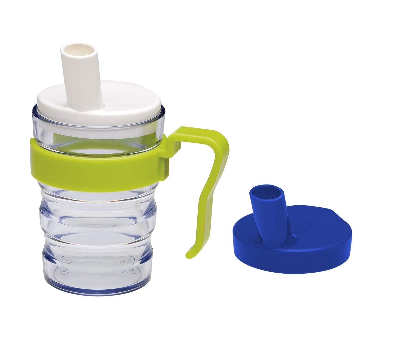 Vaso con pajita integrada First Aid Only, 2 tapas para líquidos y ...