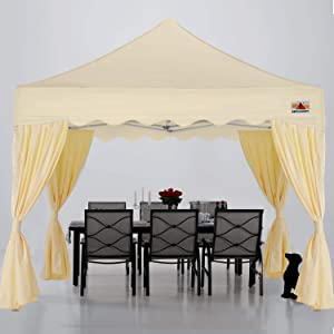ABCCANOPY Patio Pop Up Canopy Tent with Curtain 10x10 Event-Series (Beige)