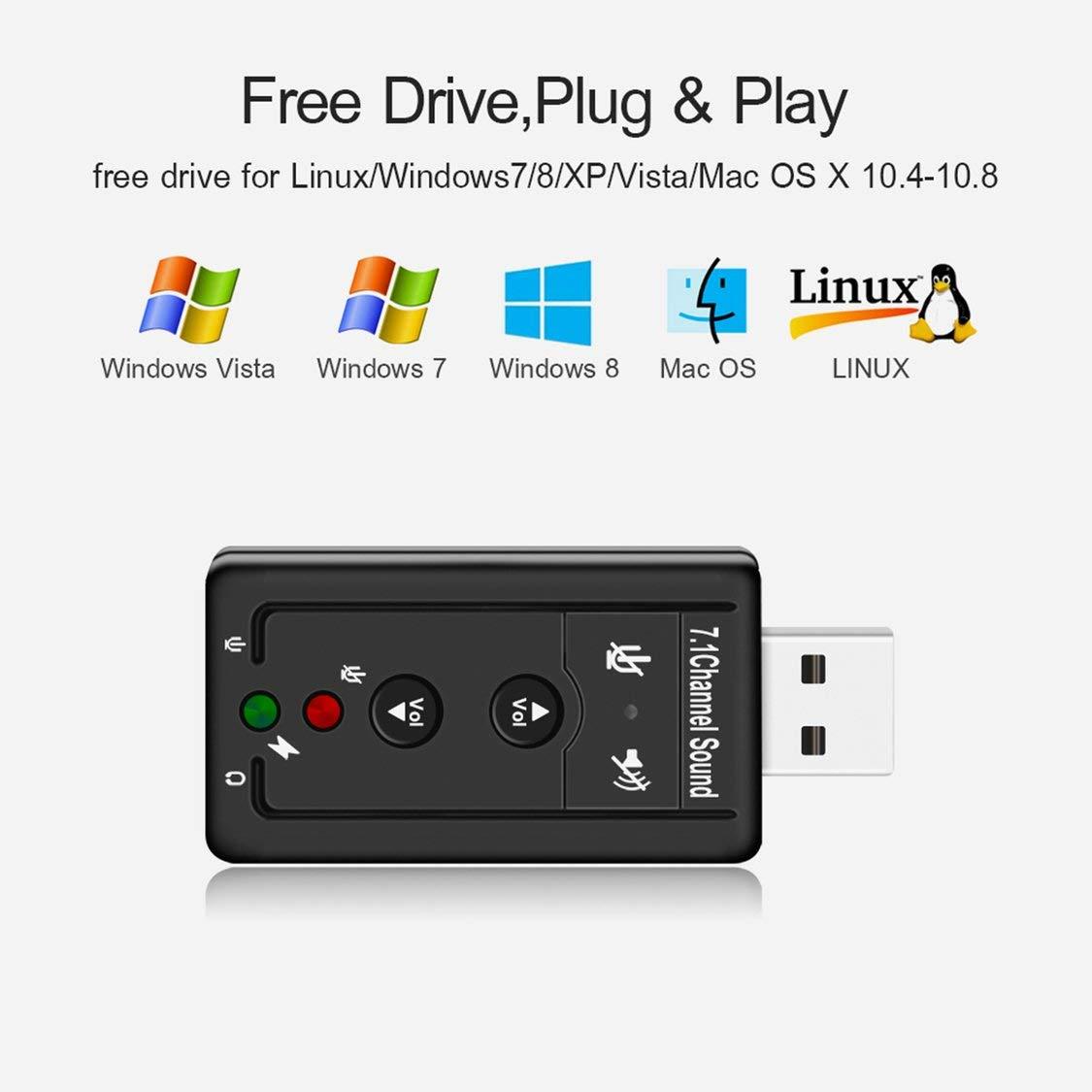 FancyswES8eety USB 2.0 Tarjeta de Sonido Externa 7.1CH Audio Mini Adaptador con Control de bot/ón 3.5mm Auricular Mic Interfaz Componentes de la computadora