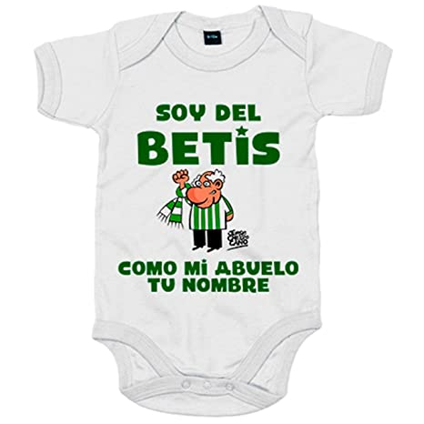 Body bebé soy del betis como mi abuelo personalizable con nombre - Blanco, 6-