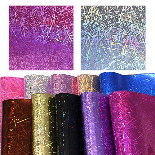 David accessories Holographic Iridescence Striped Printed Faux Leather Fabric Sheet 10 Pcs 8