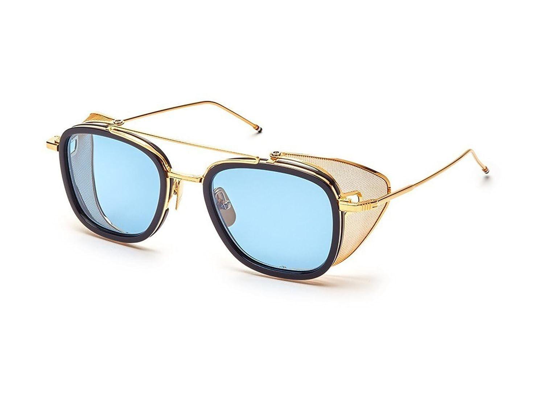 f3489b027ec9 Sunglasses THOM BROWNE TB 808 C-NVY-GLD Navy-Yellow Gold w  Dark Blue-Black  Flas at Amazon Men s Clothing store