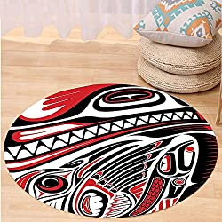 VROSELV Custom carpetTribal Decor Haida Style Animal Art Wild Indian Eagle and Killer Dog with Sharp Teeth for Bedroom Living Room Dorm White Red Black Round 34 inches