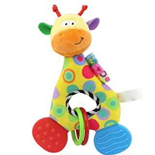 E-SCENERY Cartoon Animal Baby Rattles Teethers With Built-in BB, Shaking Bell Rattle Set for Infant, Newborn Baby, Toddler Musical Toy Gift (Giraffe)