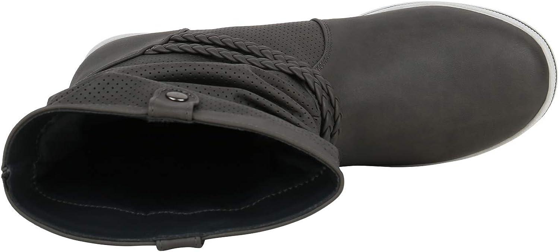 comodi stivali da donna con cordoncino, piatti, in similpelle Grau Berkley