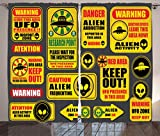 Outer Space Decor Curtains by Ambesonne, Warning Ufo Signs with Alien Faces Heads Galactic Paranormal Activity Design, Living Room Bedroom Window Drapes 2 Panel Set, 108W X 63L Inches, Yellow