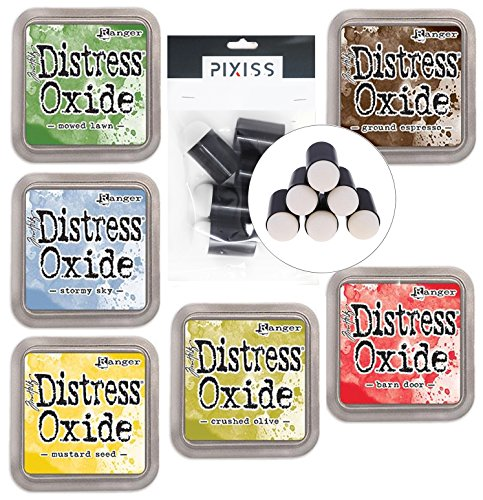 Tim Holtz Distress Oxide Ink Pads Summer 2018 Colors 6 Pad Bundle with 6 Pixiss Daubers, Barn Door, Mowed Lawn, Mustard Seed, Crushed Olive, Stormy Sky, Ground ()