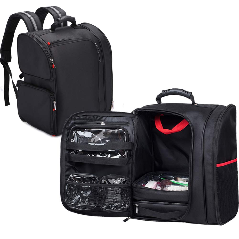 KIOTA Professional Makeup Artist Backpack with Clear Cosmetic Storage Bags, Thermal Lining Pocket, Black (Black)