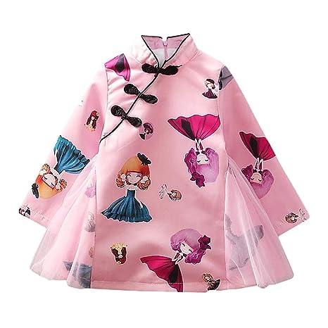 Baby Girl Cheongsam Vestido chino de manga larga de Cheongsam para ...