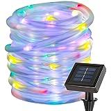 LE Cavo luminoso RGB 10m, 100LED Impermeabile IP65, Pannello Solare multicolore 1.2V per Giardino alberi piante