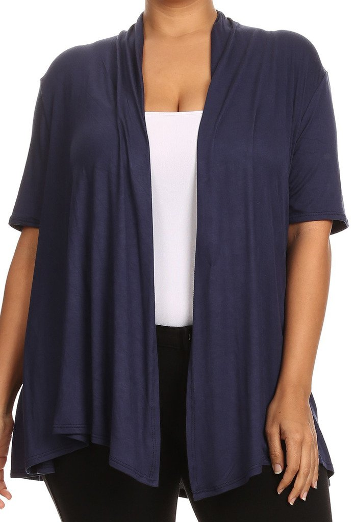 BNY Corner Women Plus Size Short Sleeve Cardigan Open Front Casual Cover Up Navy 1 X 433 SD
