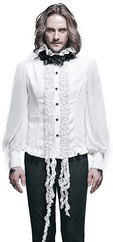 Devil Fashion Camisa gótica para hombre steampunk de gasa ...