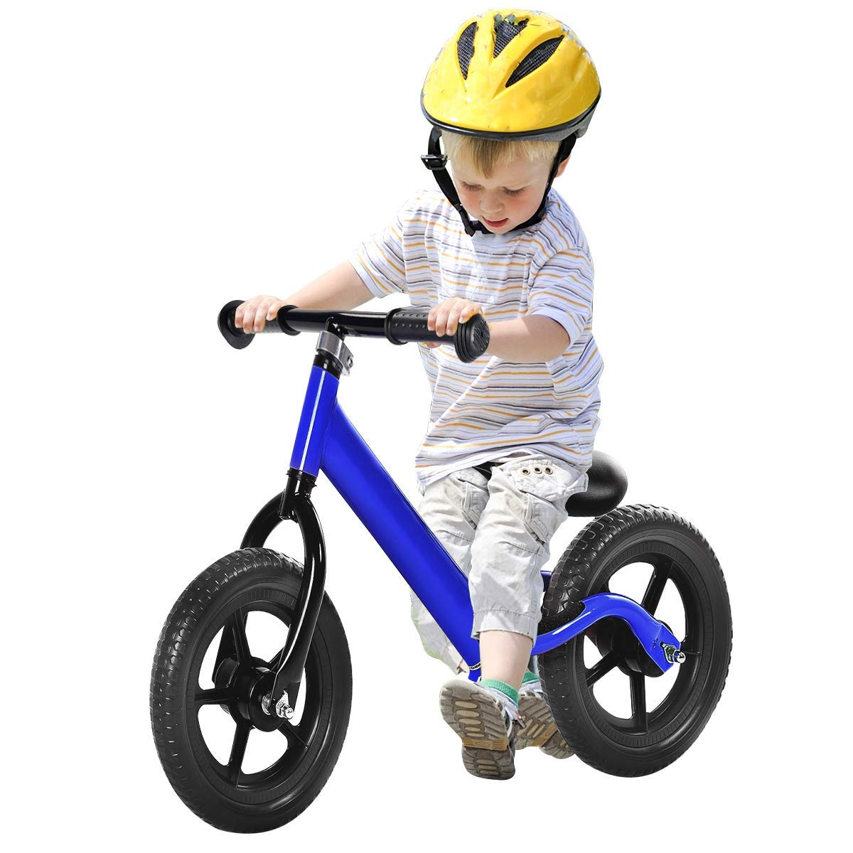 Costzon Kids Balance Bike, 12 Inch Classic Lightweight No-Pedal Toddlers Walking Bicycle w/Height Adjustable Seat and Handle, for Children Boys & Girls Age 2-5 (Blue)