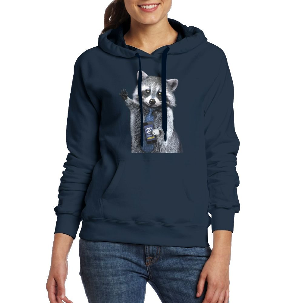 Working Raccoon Womens Geek Long Sleeve Hoodie With Kangaroo Pocket MostPopular