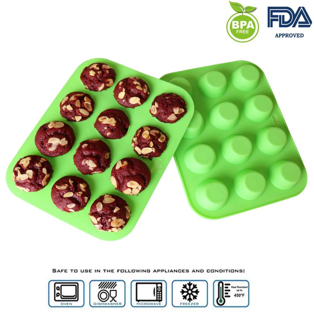 FirstHomax Mini Muffin Pan Silicone Mini Cupcake Silicone Molds Silicone Cupcake Baking Cups Silicone Cupcake Pan, 12 Round Mini Muffin Pan Set of 2 Packs by FirstHomax (Image #6)