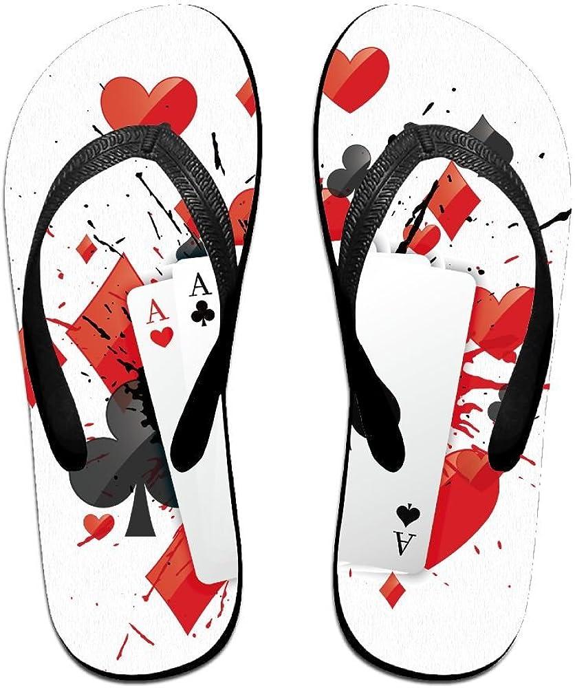 Couple Slipper Splash Poker A Print Flip Flops Unisex Chic Sandals Rubber Non-Slip Beach Thong Slippers