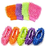 #8: Mop Slippers Dusting Mitt,2 Pairs Mop Slipper Shoes Cover with 2 Pairs Chenille Microfiber Dusting Mitt Wash Mitt for Car,House,Windows Cleaning