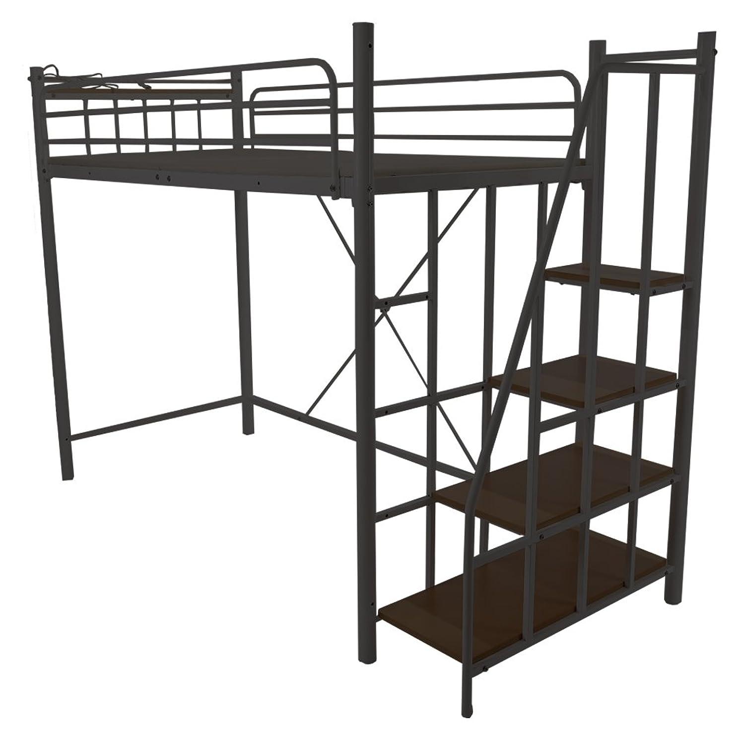 評判蓋品種UNE BONNE(ウネボネ) はしご スペース ロフトベッド 一人暮らし用?子供部屋 二段ベッド シングルベッドフレームBLACK
