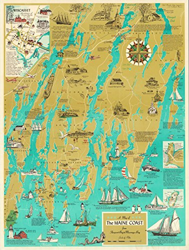Muscongus Bay Maine (A Map of The Maine Coast from Sheepscot Bay to Muscongus Bay., 1968 | Historic Antique Vintage Map Reprint)