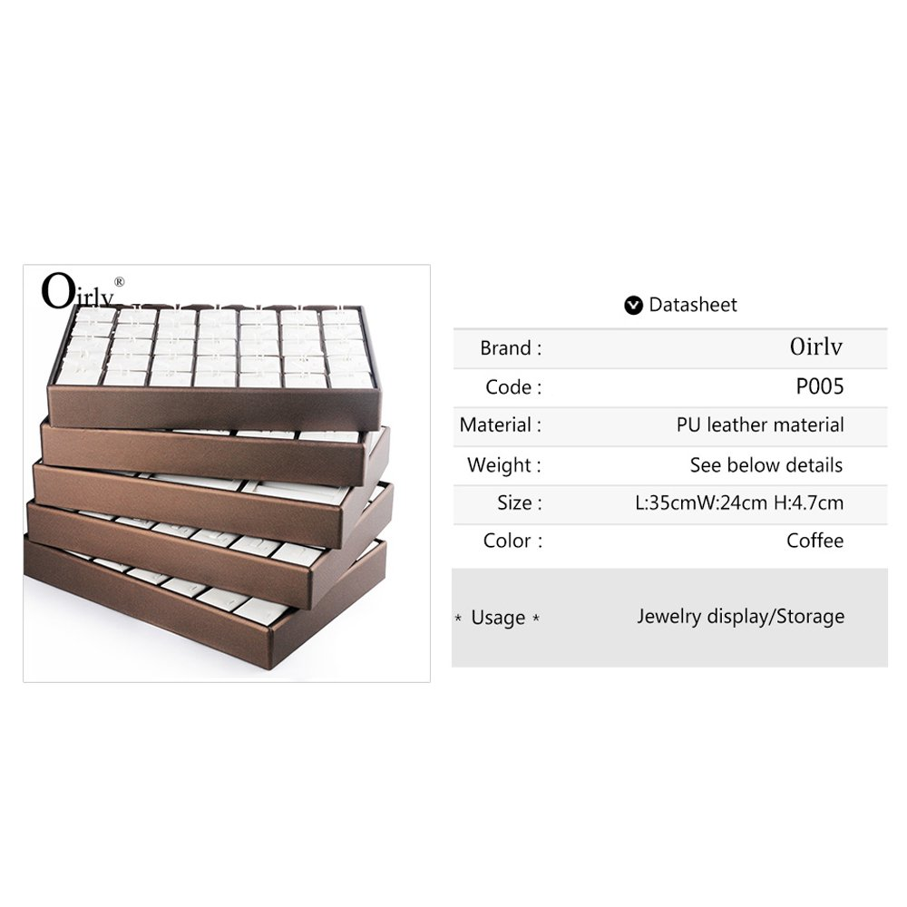 Oirlv PU Leather Stackable Jewelry Trays 14 Hooks Necklace Storage Display Showcase Home Organizer