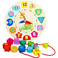 Isuper Learning Clock, Clock Puzzle, Juquete Educational Wooden Games Children's Learn the Time for Children and Babies