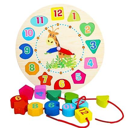 Isuper Reloj de Aprendizaje,Reloj Puzzle,Juquete Educativo de Madero Juegos Infantil Aprender la