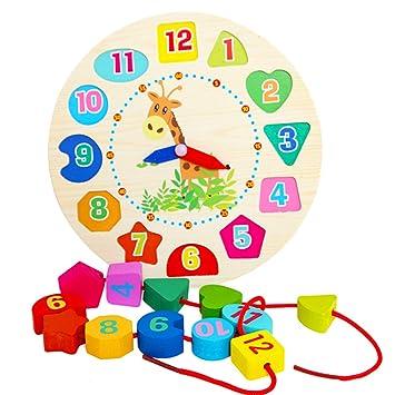 Newin Star Reloj de Aprendizaje,Reloj Puzzle,Juquete Educativo de Madero Juegos Infantil Aprender