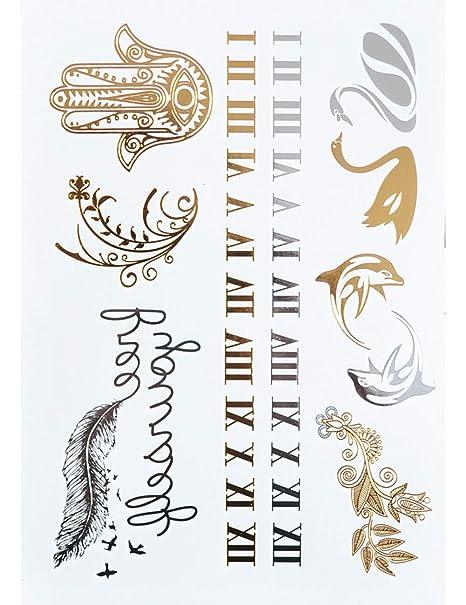 ASTTY Etiqueta Engomada del Tatuaje Números Tatuaje Metálico Joyas ...