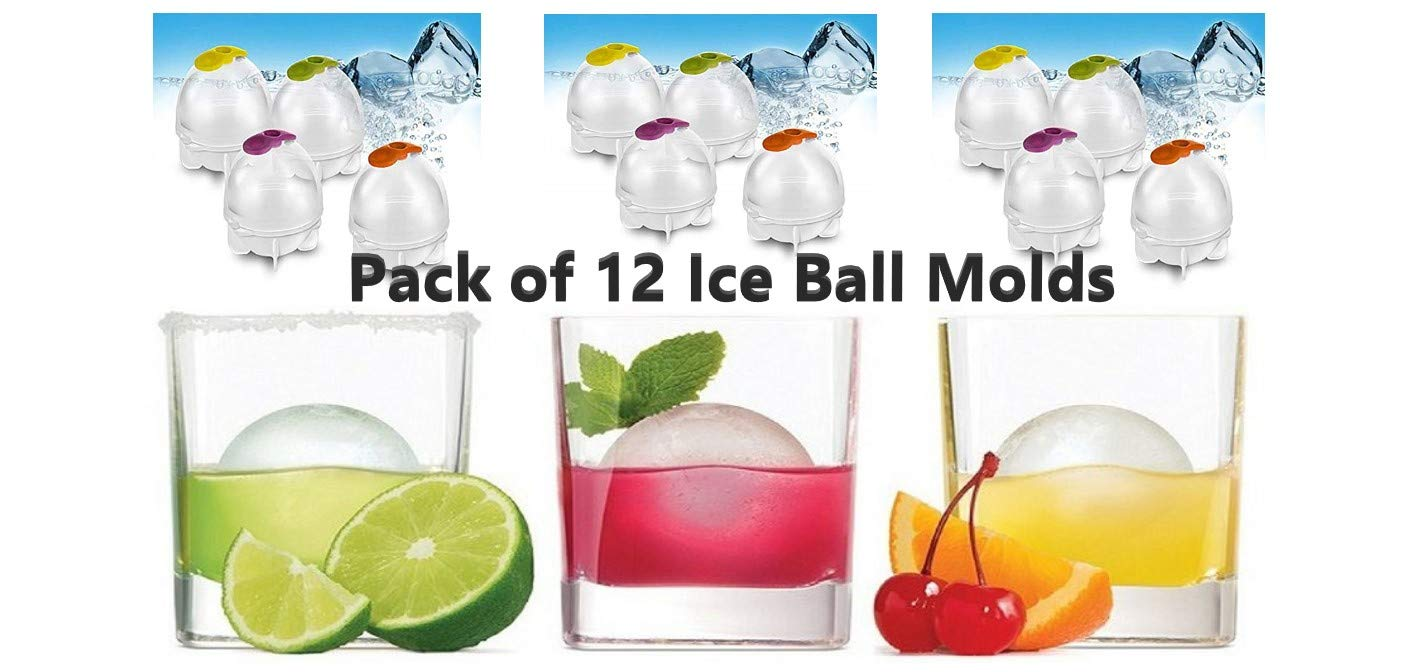Ice Ball Mold Maker Husky Balls To Fit Whiskey Glass Great for Parties and Chilled Beverages Pack of 12 Ball Molds with Silicone Pop Open Molds