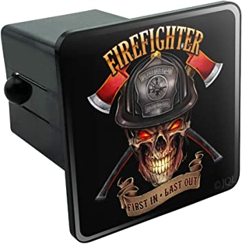 Graphics and More Firefighter Skull First in Last Out Fireman Tow Trailer Hitch Cover Plug Insert