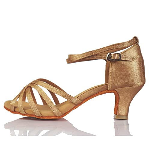 4de12cb6a9b VASHCAME-Zapatos de Baile Latino de Tacón Alto Medio para Mujer Beige 34 (