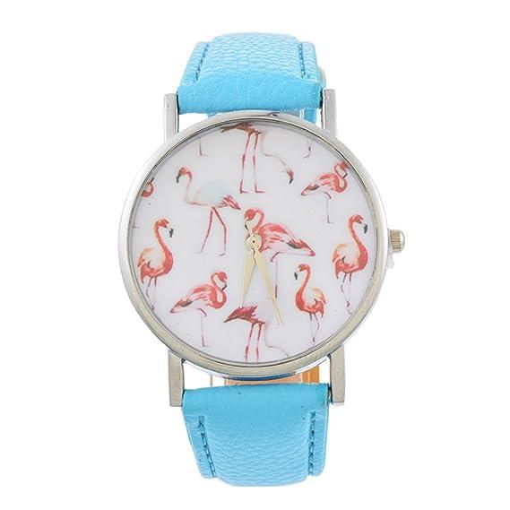 Loweryeah - Reloj de pulsera analógico de cuarzo para mujer, esfera de flamenco rosa, piel sintética, color azul claro: Amazon.es: Relojes