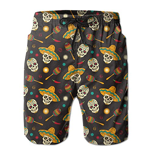 Man's Quick Dry Swim Trunks Brown Skull Cowboy Style Fishing Shorts With - Nut Outlet Premium Tree