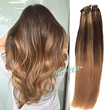 Clip in Hair Extensions Chocolate Brown to Golden Brown and Strawberry  Blonde Highlight Balayage