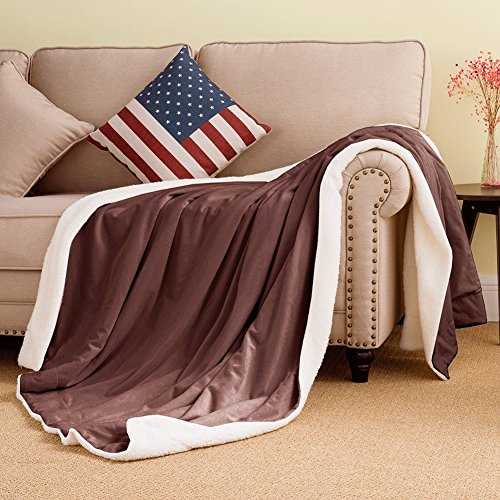 Soft Blanket Sherpa Throw Warm Fleece Throws for Boy Dad Winter Bed Covers Kids Blankets Holiday boyfriends Valentine by VVFamily (60x80, Brown) - Classic Home Solid Wool