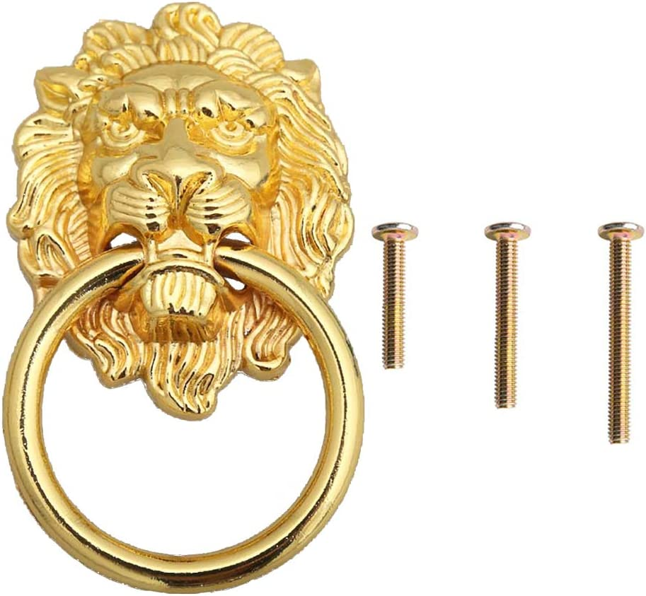 "4 Pack 2"" x 3.5"" Gold Lion Head Drawer Pulls, Cabinet Ring Pulls with 3 Size Screws for Door Dresser Wardrobe Cupboard Furniture"