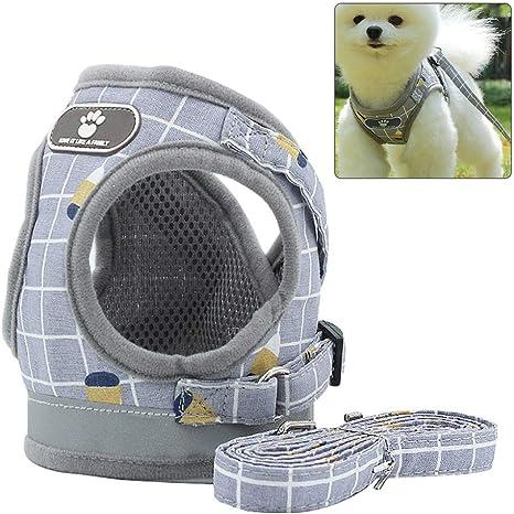 RREESOO Arnes Perro Pecho Grande/Mediano/Pequeño con Cinta Reflectante Arnés de Seguridad para Perros Gato Cachorros Antitirones Chaleco Ajustable ...